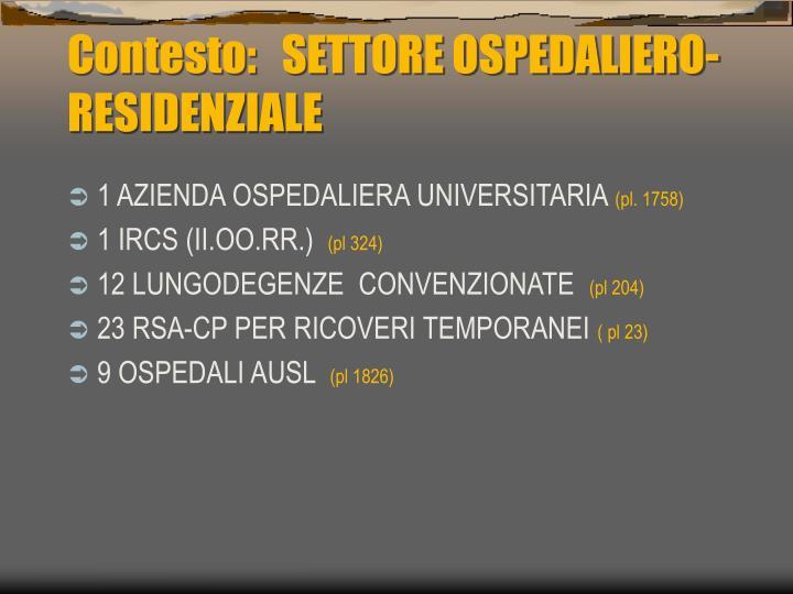 Contesto:   SETTORE OSPEDALIERO-RESIDENZIALE