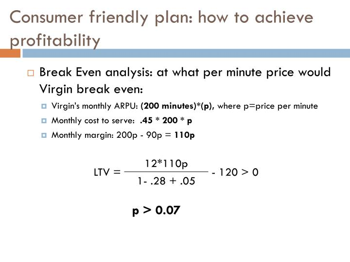 Consumer friendly plan: how to achieve profitability