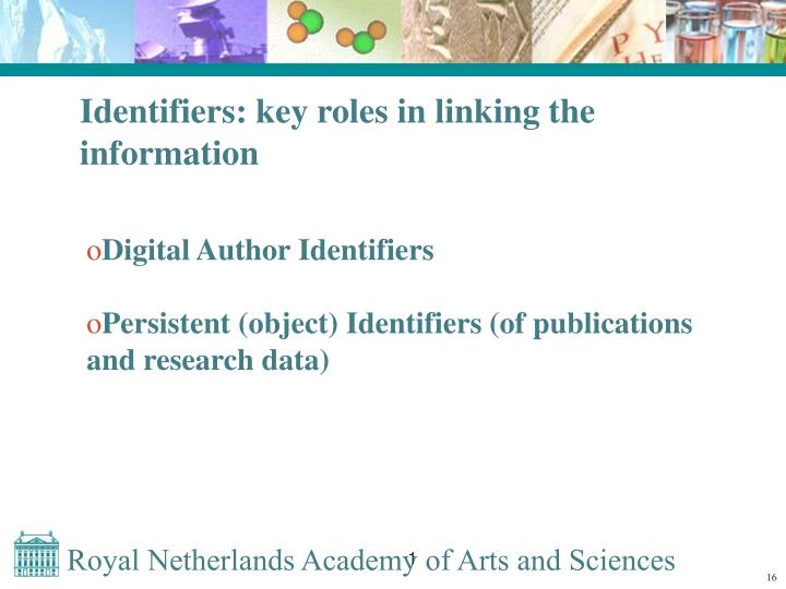 Identifiers: key roles in linking the information