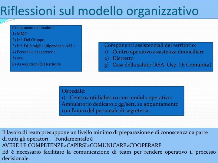 Riflessioni sul modello organizzativo