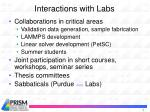 interactions with labs