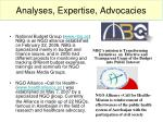 analyses expertise advocacies