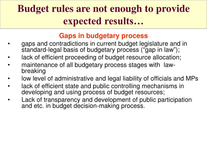 Budget rules are not enough to provide expected results…