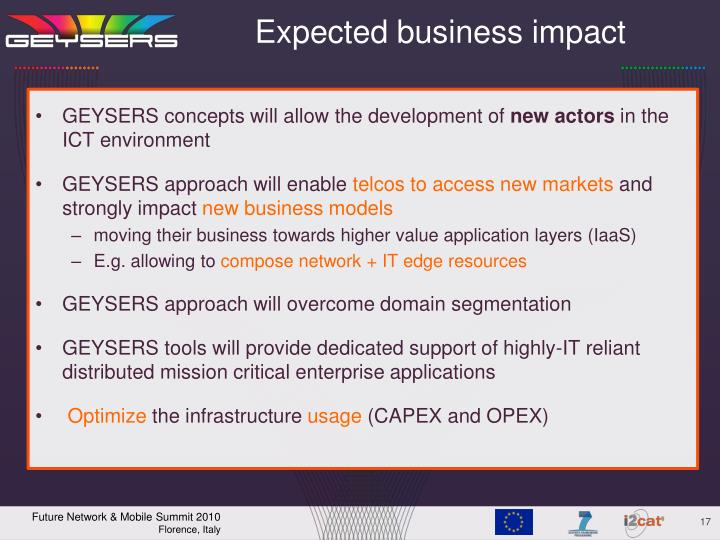 Expected business impact