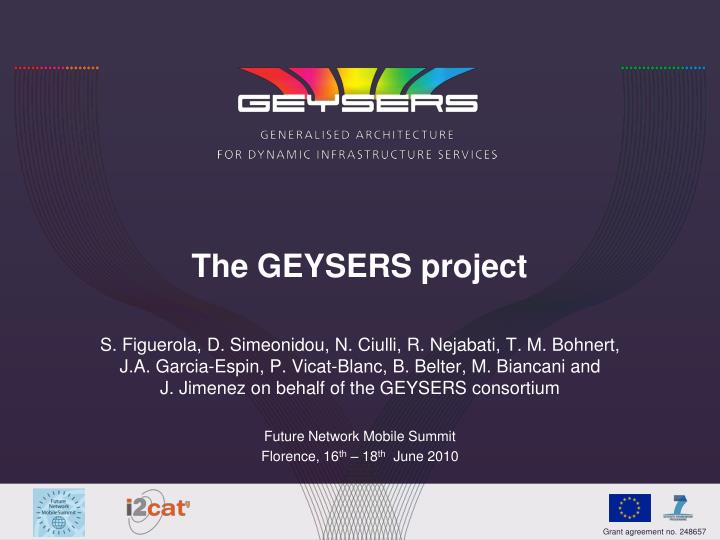 The GEYSERS project