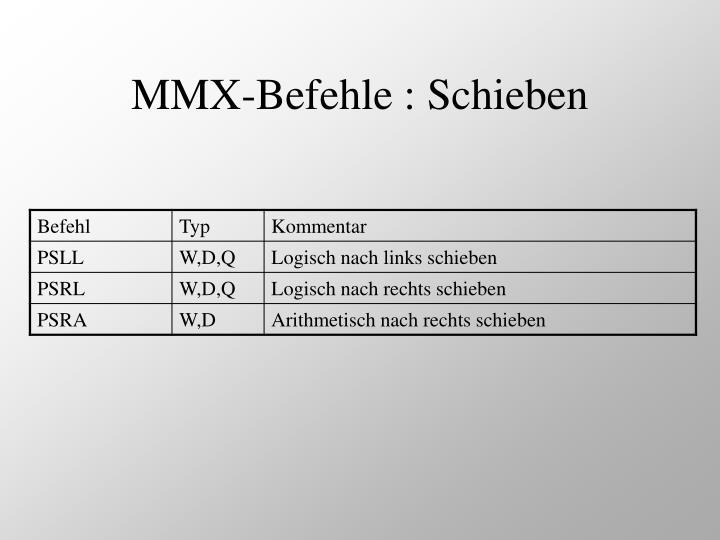 MMX-Befehle : Schieben