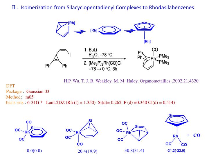 Ⅱ.  Isomerization from Silacyclopentadienyl Complexes to Rhodasilabenzenes