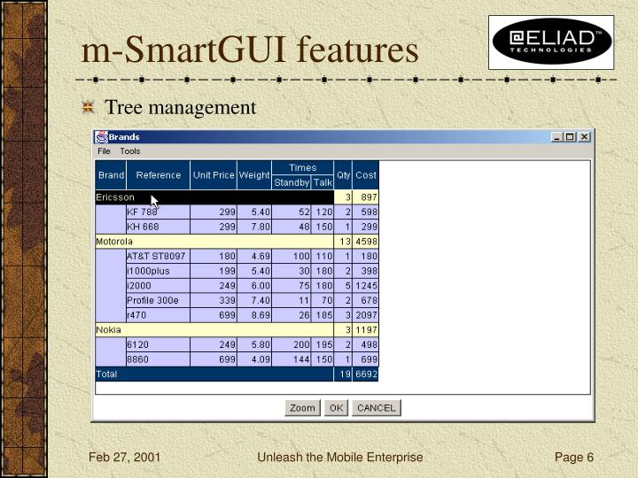 m-SmartGUI features