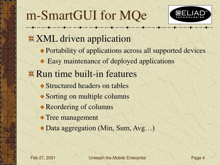 m-SmartGUI for MQe