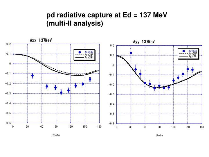 pd radiative capture at Ed = 137 MeV