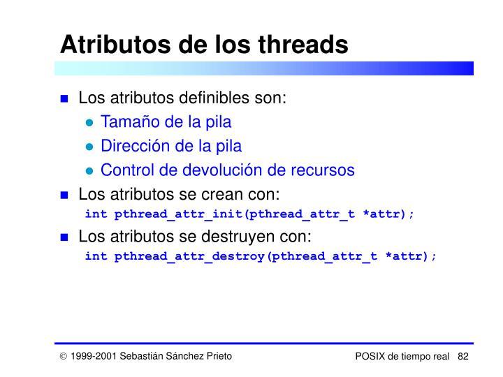 Atributos de los threads