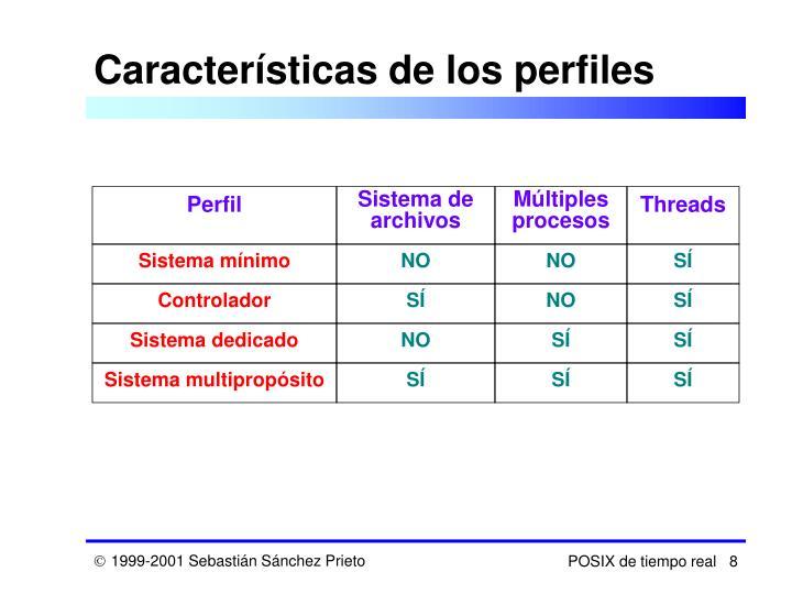 Características de los perfiles