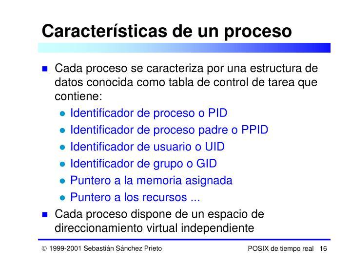 Características de un proceso