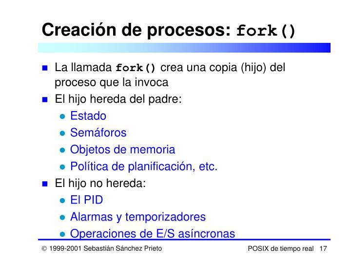 Creación de procesos: