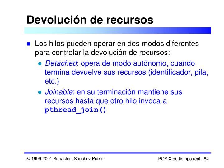 Devolución de recursos