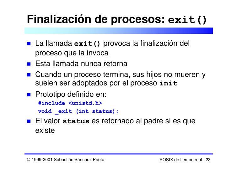 Finalización de procesos: