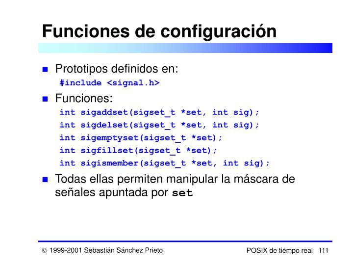 Funciones de configuración