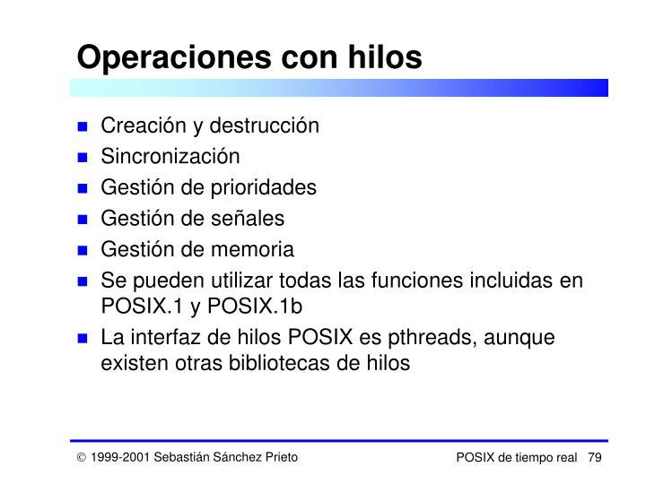 Operaciones con hilos
