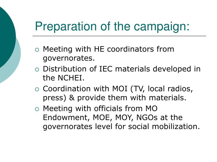 Preparation of the campaign: