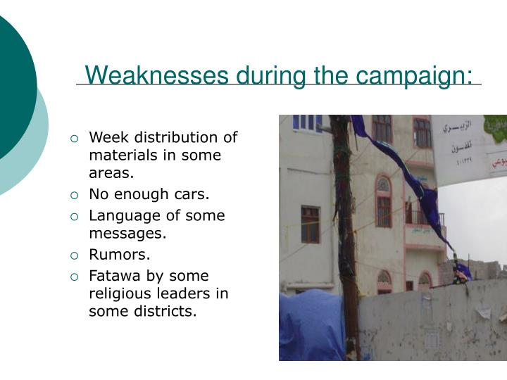 Weaknesses during the campaign: