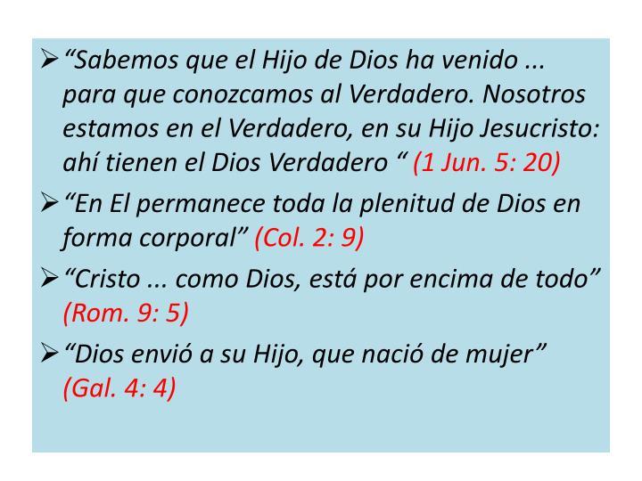 """""""Sabemos que el Hijo de Dios ha venido ... para que conozcamos al Verdadero. Nosotros estamos en el Verdadero, en su Hijo Jesucristo: ahí tienen el Dios Verdadero """""""