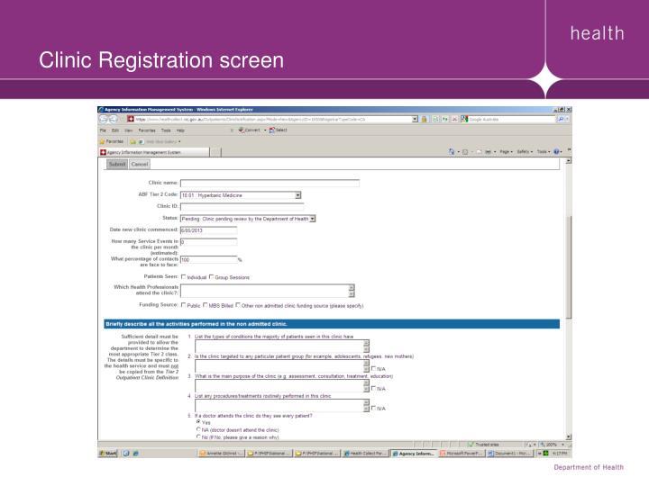 Clinic Registration screen