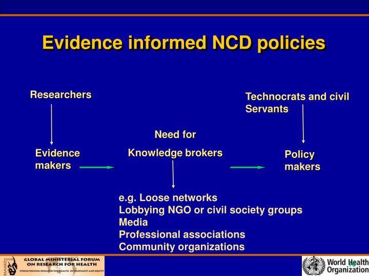Evidence informed NCD policies