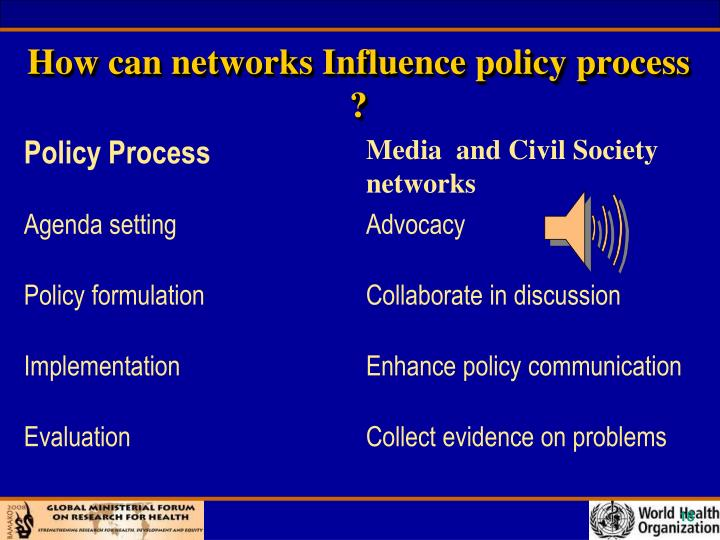 How can networks Influence policy process ?
