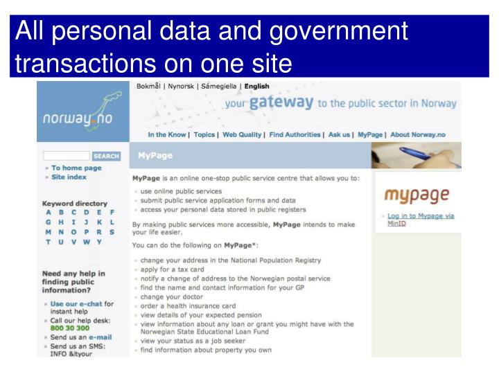 All personal data and government transactions on one site