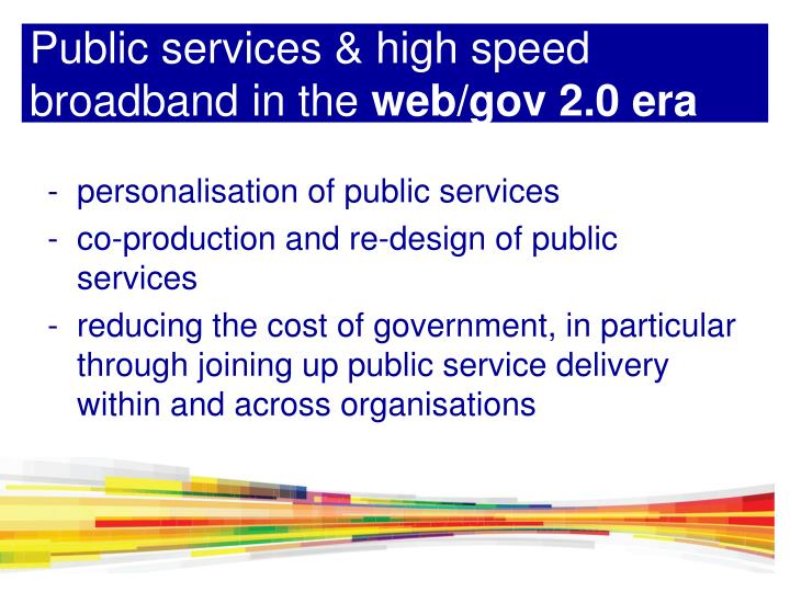 Public services & high speed broadband in the