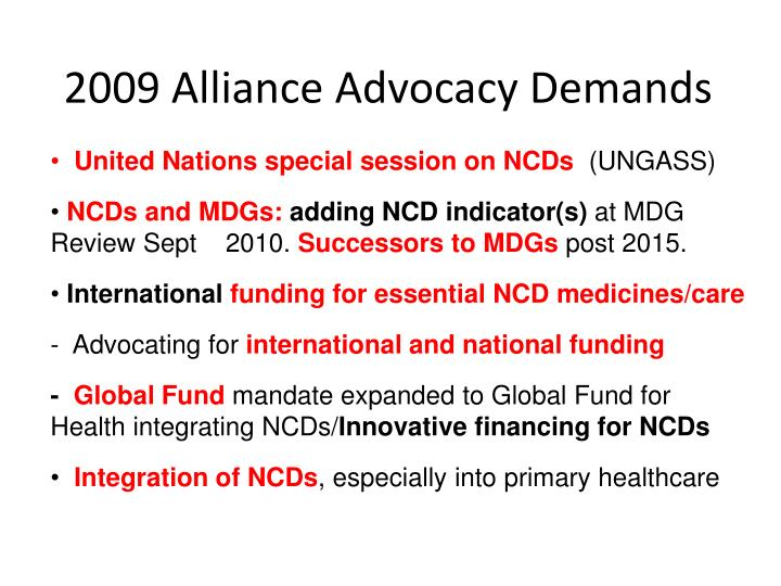 2009 Alliance Advocacy Demands