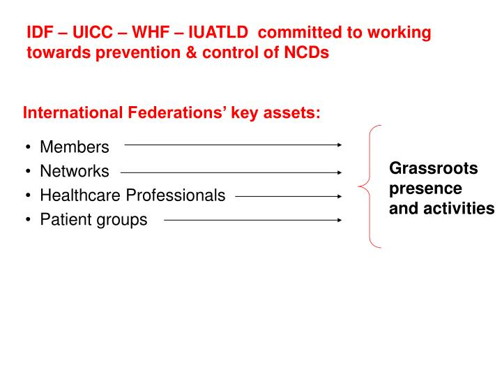 IDF – UICC – WHF – IUATLD  committed to working towards prevention & control of NCDs