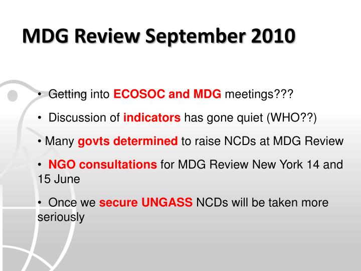 MDG Review September 2010