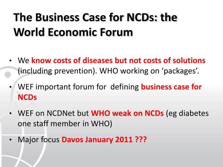 The Business Case for NCDs: the World Economic Forum