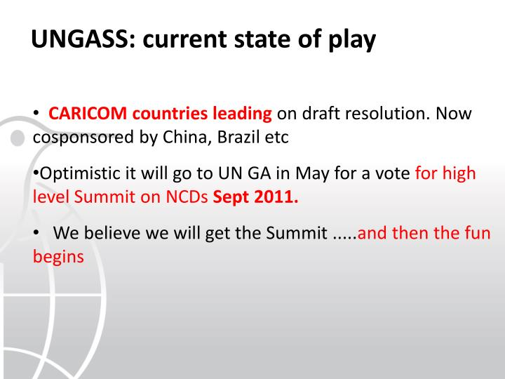 UNGASS: current state of play