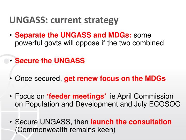 UNGASS: current strategy