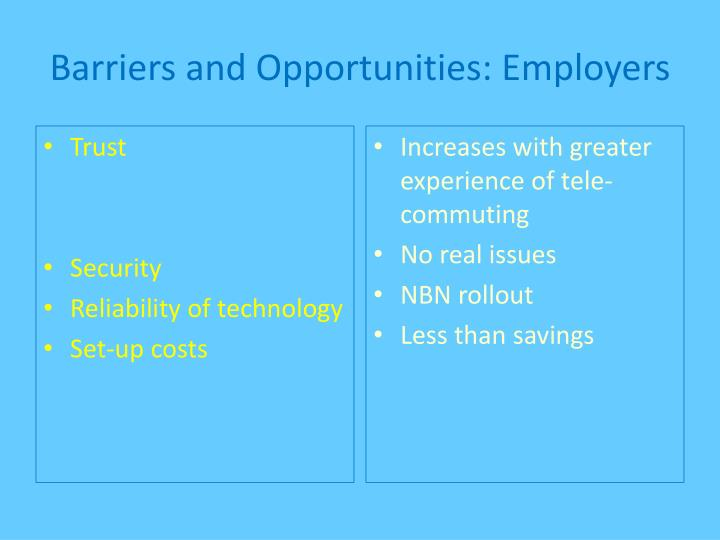 Barriers and Opportunities: Employers