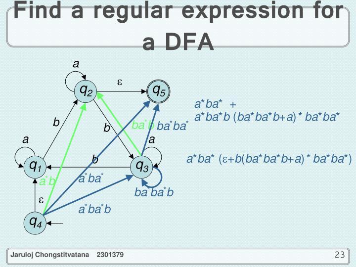 Find a regular expression for a DFA