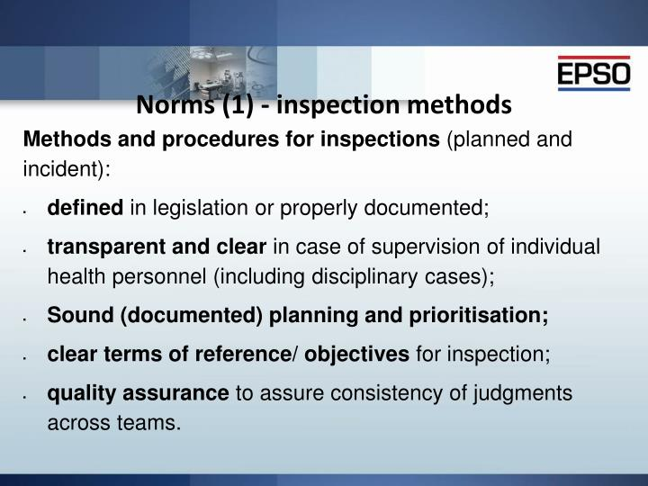 Norms (1) - inspection methods