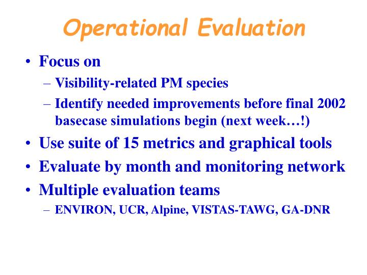 Operational Evaluation
