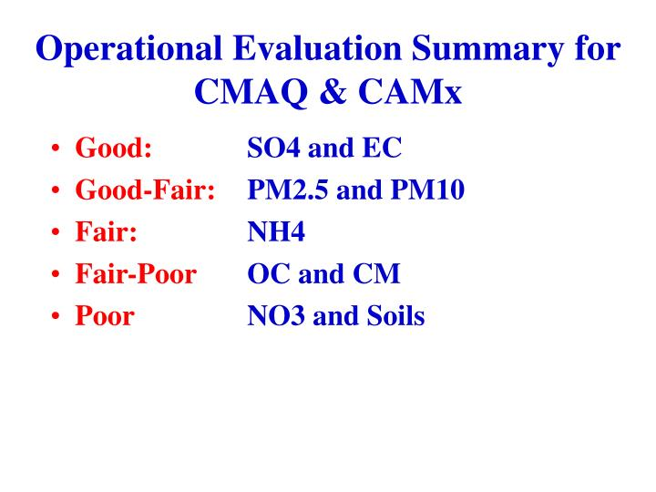 Operational Evaluation Summary for CMAQ & CAMx