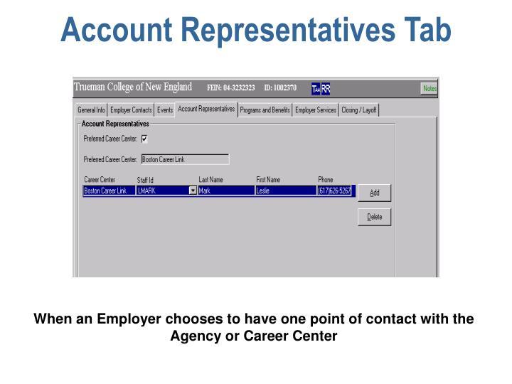 Account Representatives Tab