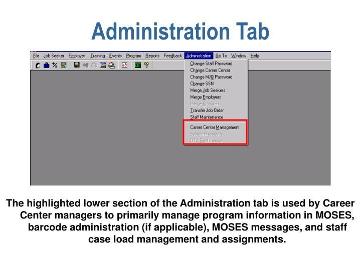 Administration Tab