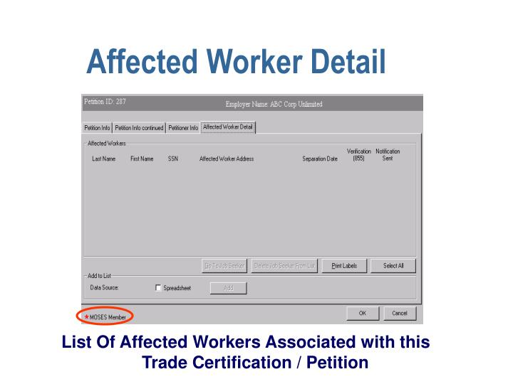 Affected Worker Detail