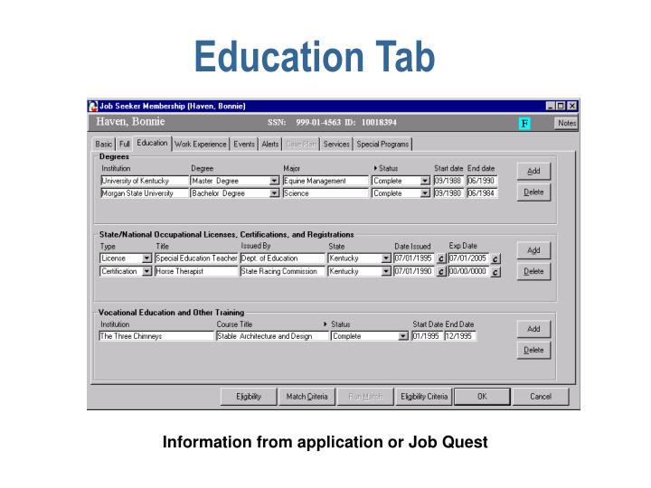 Education Tab