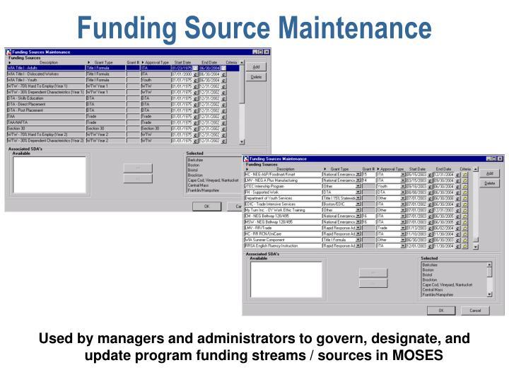 Funding Source Maintenance