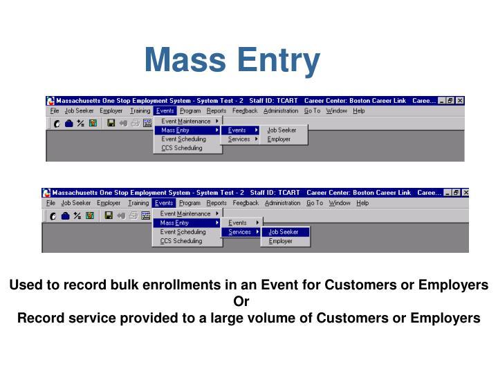 Mass Entry