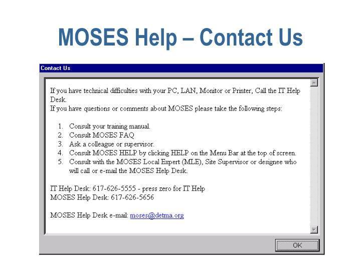 MOSES Help – Contact Us