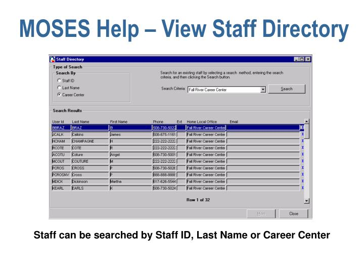 MOSES Help – View Staff Directory