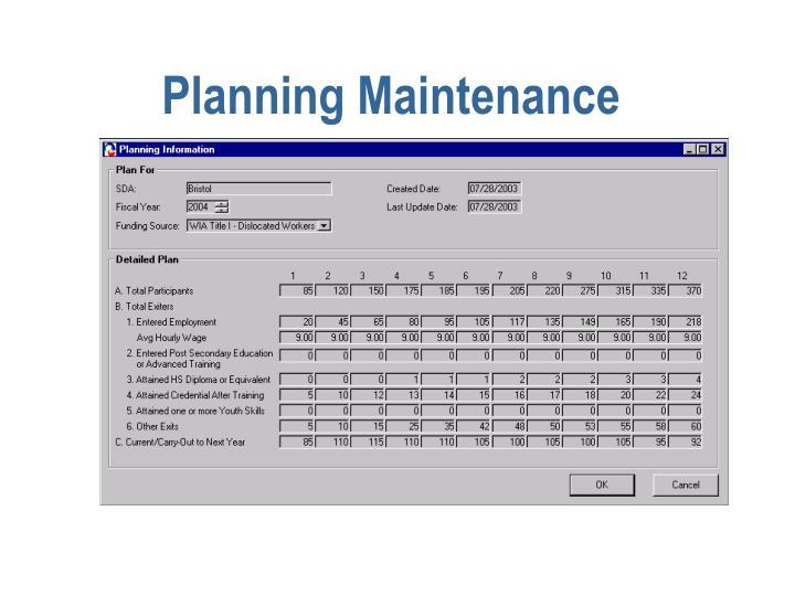 Planning Maintenance